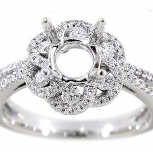 Halo Diamond Semi mount Proposal Ring White Gold